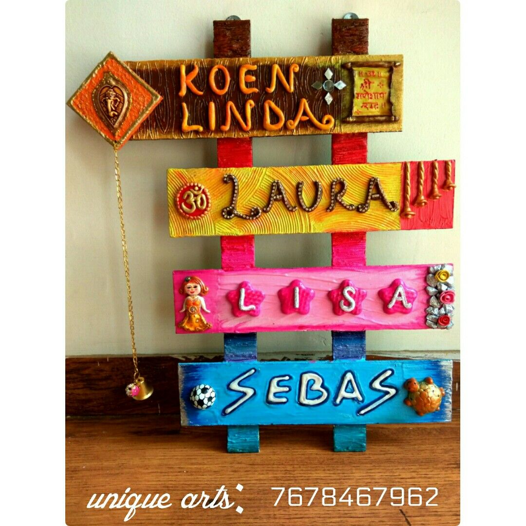 Pin By Unique Arts On Hand Made Nameplates Name Plate Design Door Name Plates Name Plate