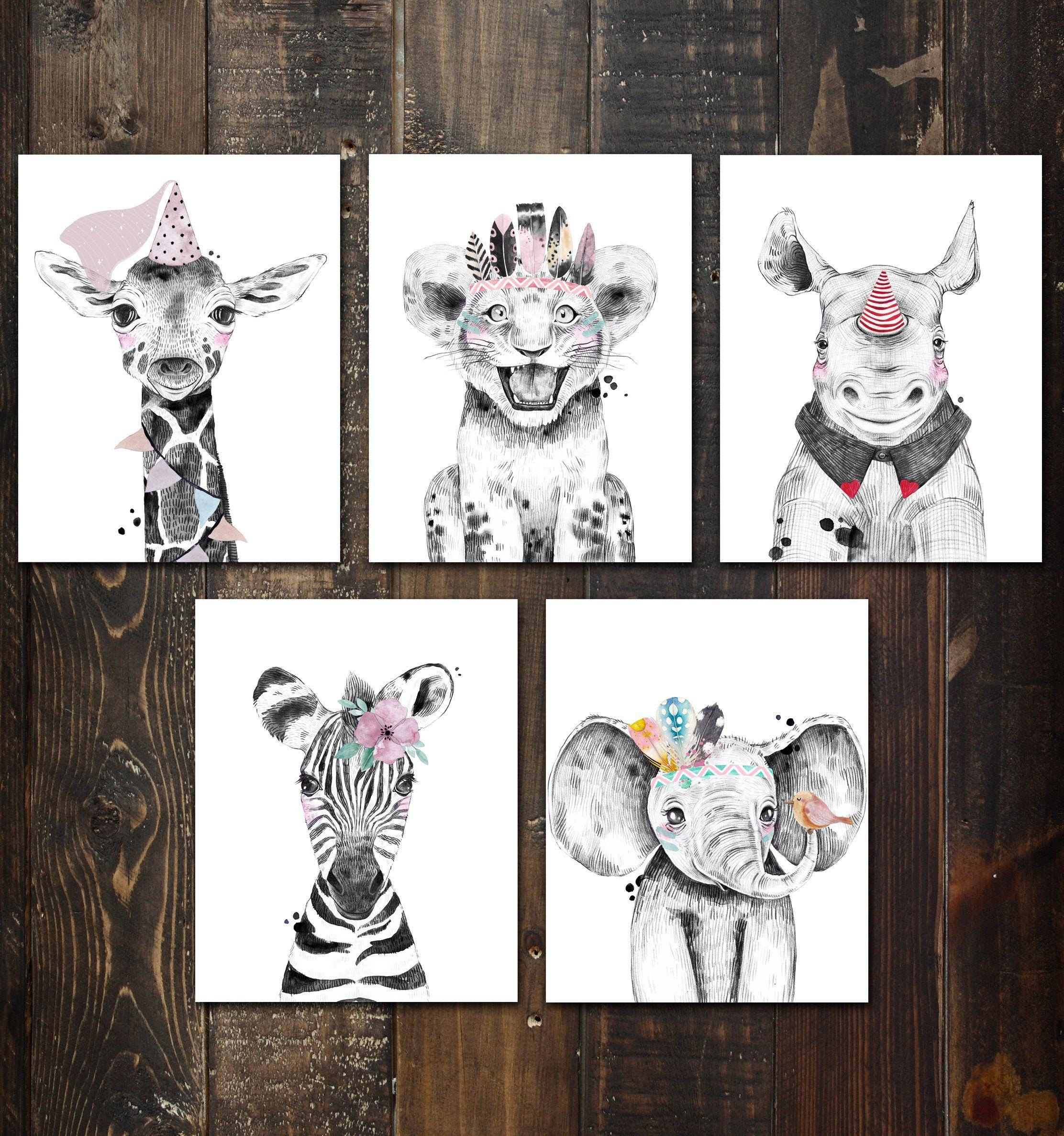 Nursery Safari Baby Animal Posters Set Of 5 Prints Unframed Great Gifts For Baby Shower Kids Bedroom Or Bathroom Decor Baby Elephant Giraffe Rhino Lion And Zebra P1022 Safari Nursery Baby
