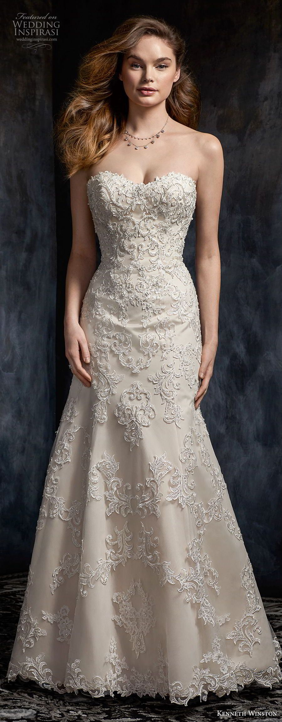 kenneth winston fall 2017 bridal sleeveless embroidered