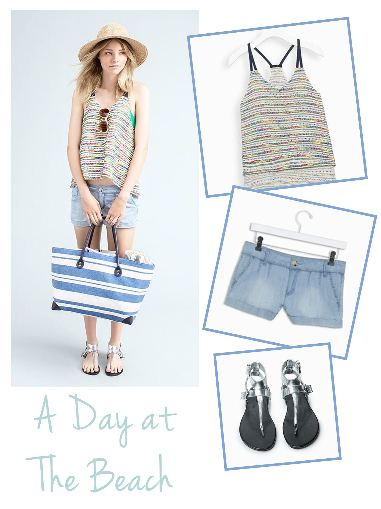 An outfit for a Day At The Beach! Love the top especially.