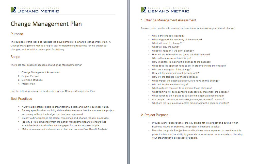 Change Management Plan  Use This Template To Determine Readiness