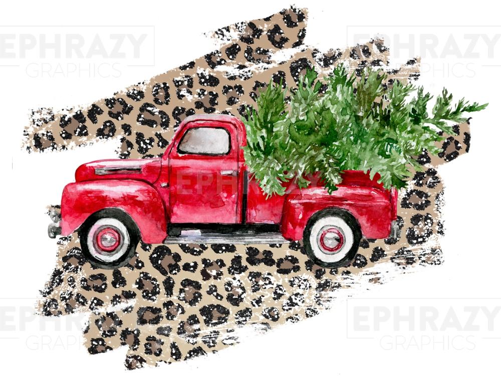 Christmas Junkie Tree Leopard Truck Sublimation Design PNG Clipart Graphic Digital Download