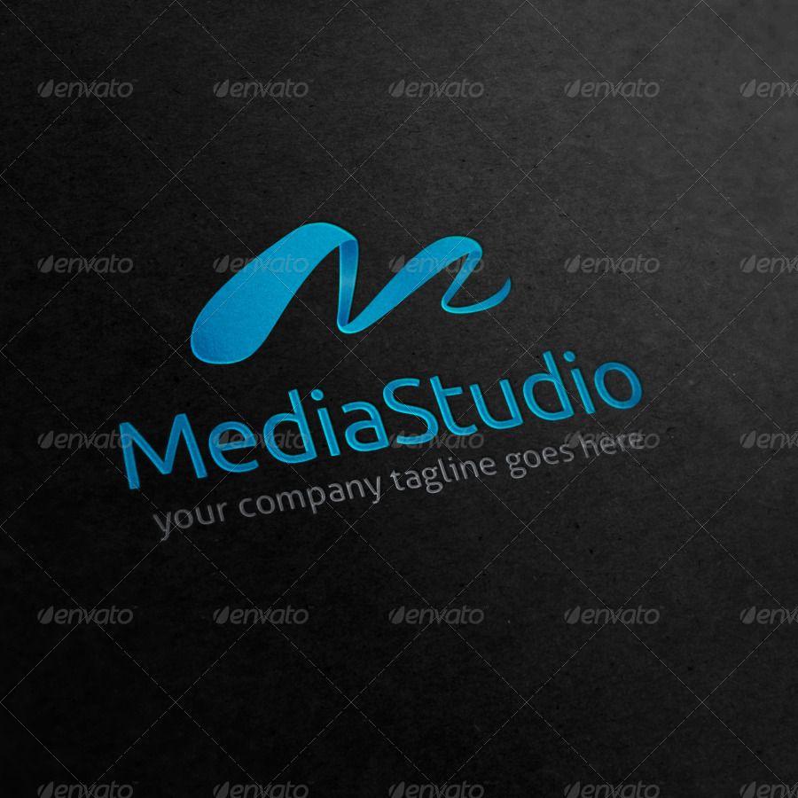 Vintage Tattoo Studio Colorful Print: Media Studio Letter M Logo #Affiliate # Studio , #Aff