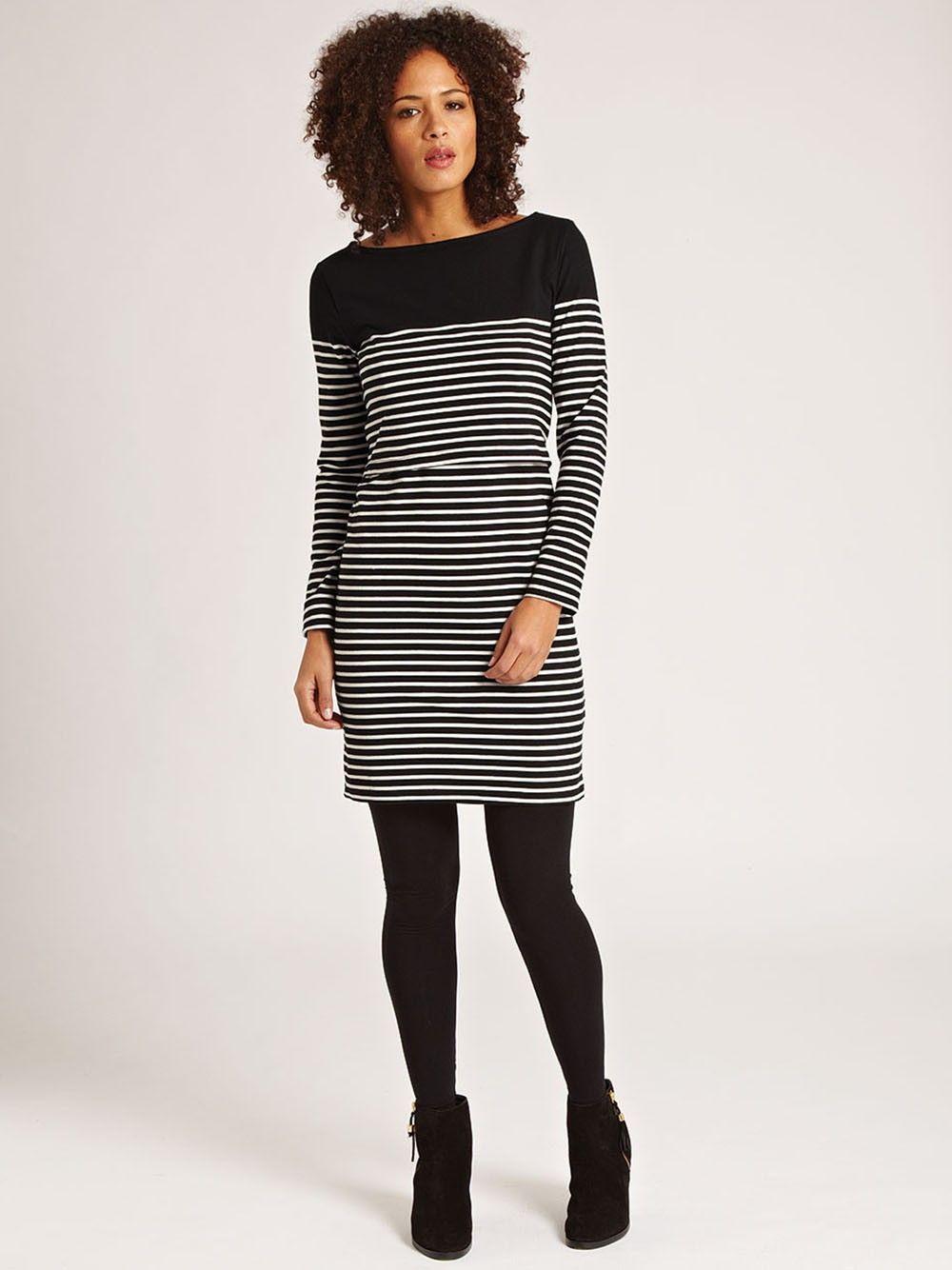 Breton Stripe Nursing Dress - Black
