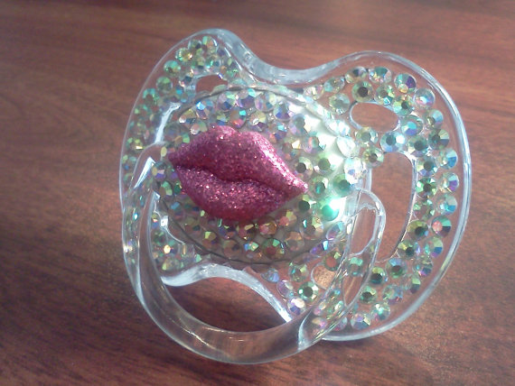 BLINKY'S lip decal rhinestone pacifier with by BorntoBlingBoutique, $35.00