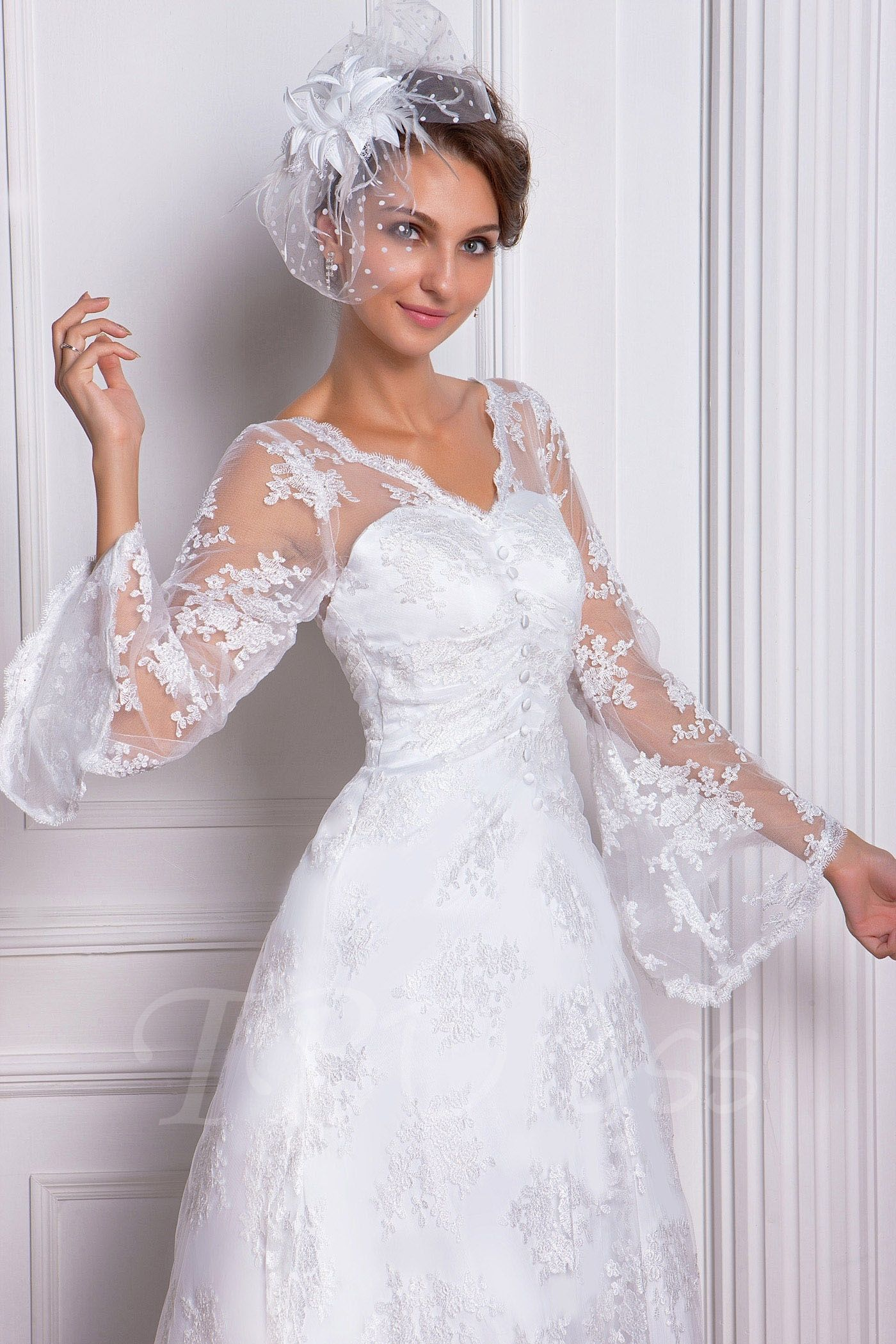 ALine/Princess VNeck LongSleeve Chapel Lace Miriama's