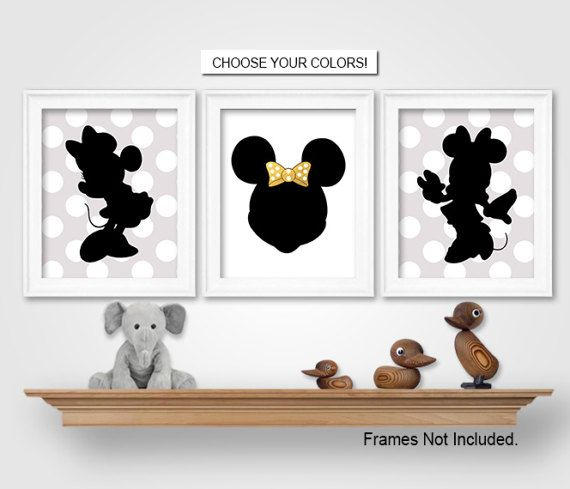 MINNIE MOUSE WALL DECOR, GREY GOLD ROCK THE DOTS BEDROOM ...