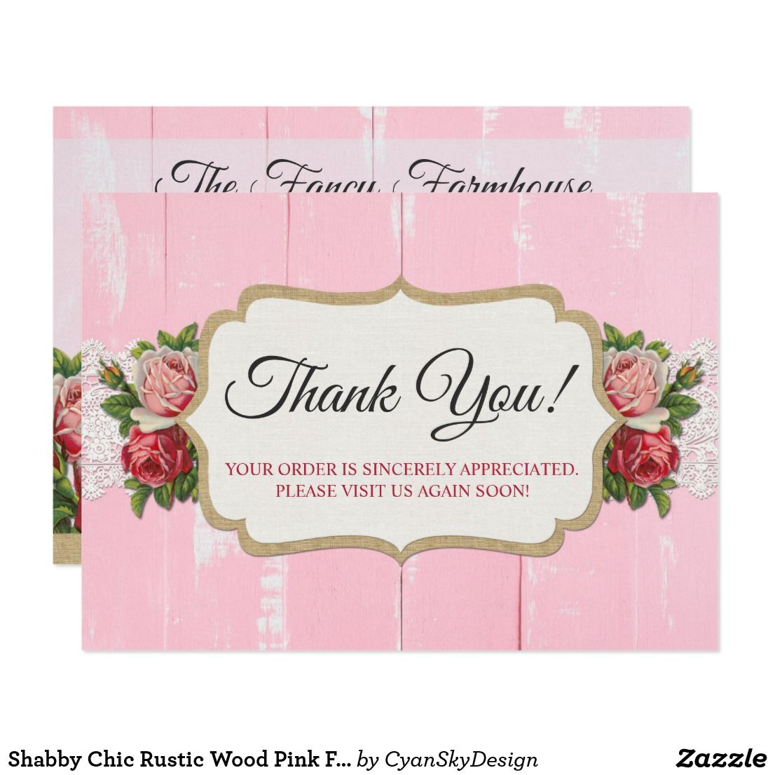 Shabby Chic Rustic Wood Pink Floral Thank You Card Zazzle Com