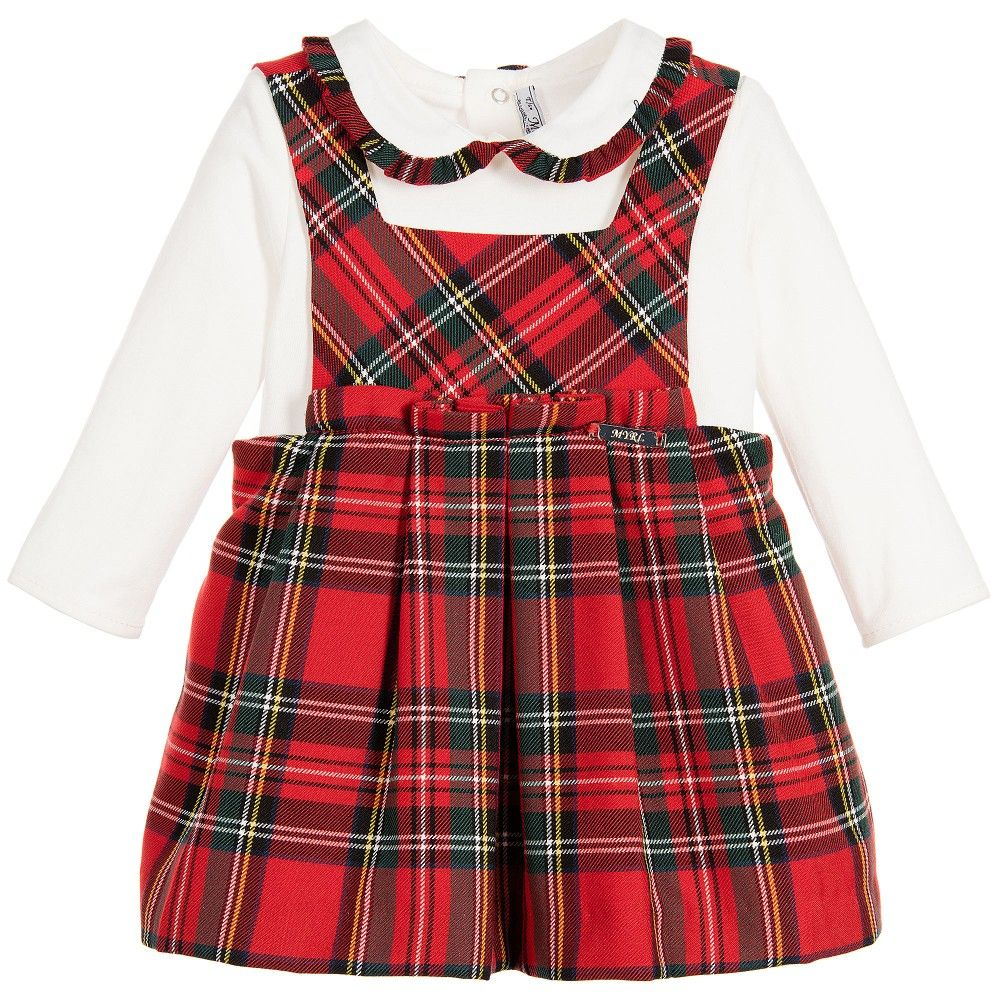 9eb5a48a543 Baby girls red tartan pinafore dress and blouse set by Mayoral. This cute  outfit has a lovely red check dress with a bib and shoulder straps, an  adjustable ...