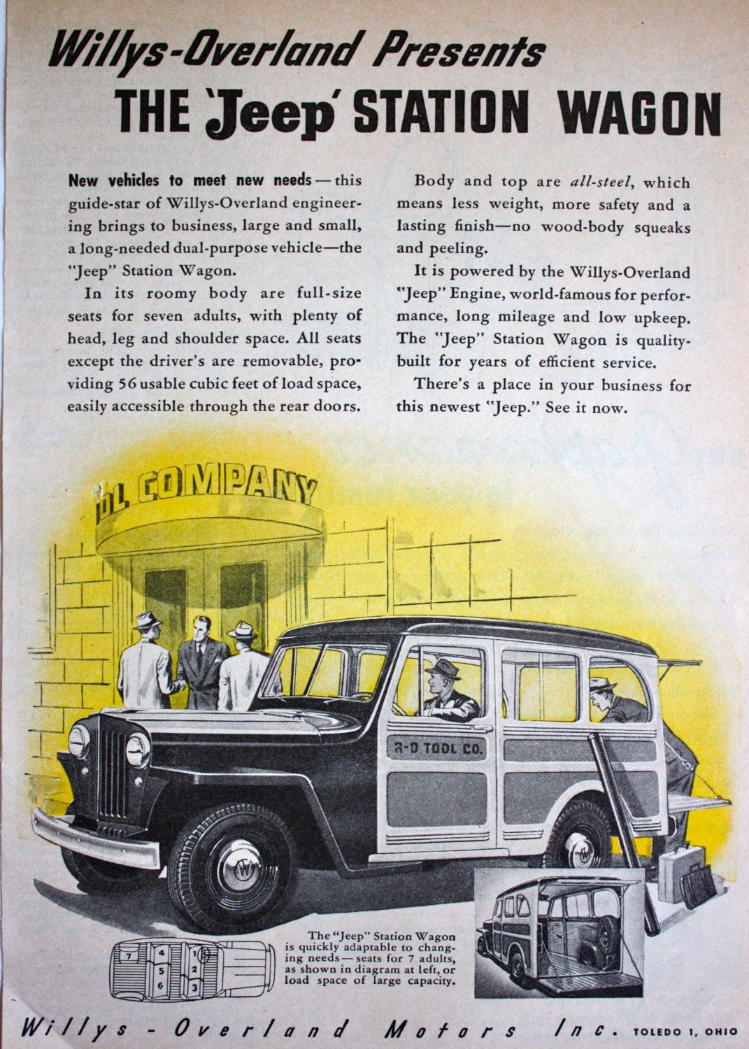 1946 Willys'Overland Jeep Station Wagon 1940's Illustration Art Vintage  Print Ad…