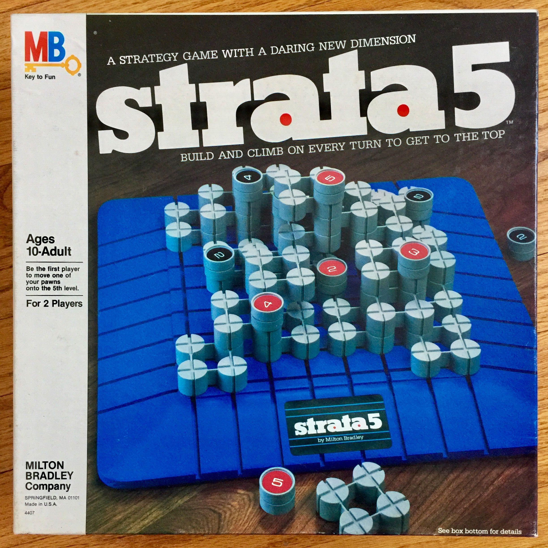 Vintage 1980s Board Game, Milton Bradley Strata 5 Game