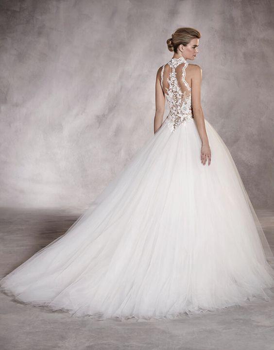 cce7449011 Glamorous high neck princess ballgown wedding dress; Featured Dress:  Pronovias Fehér Esküvői Ruhák,