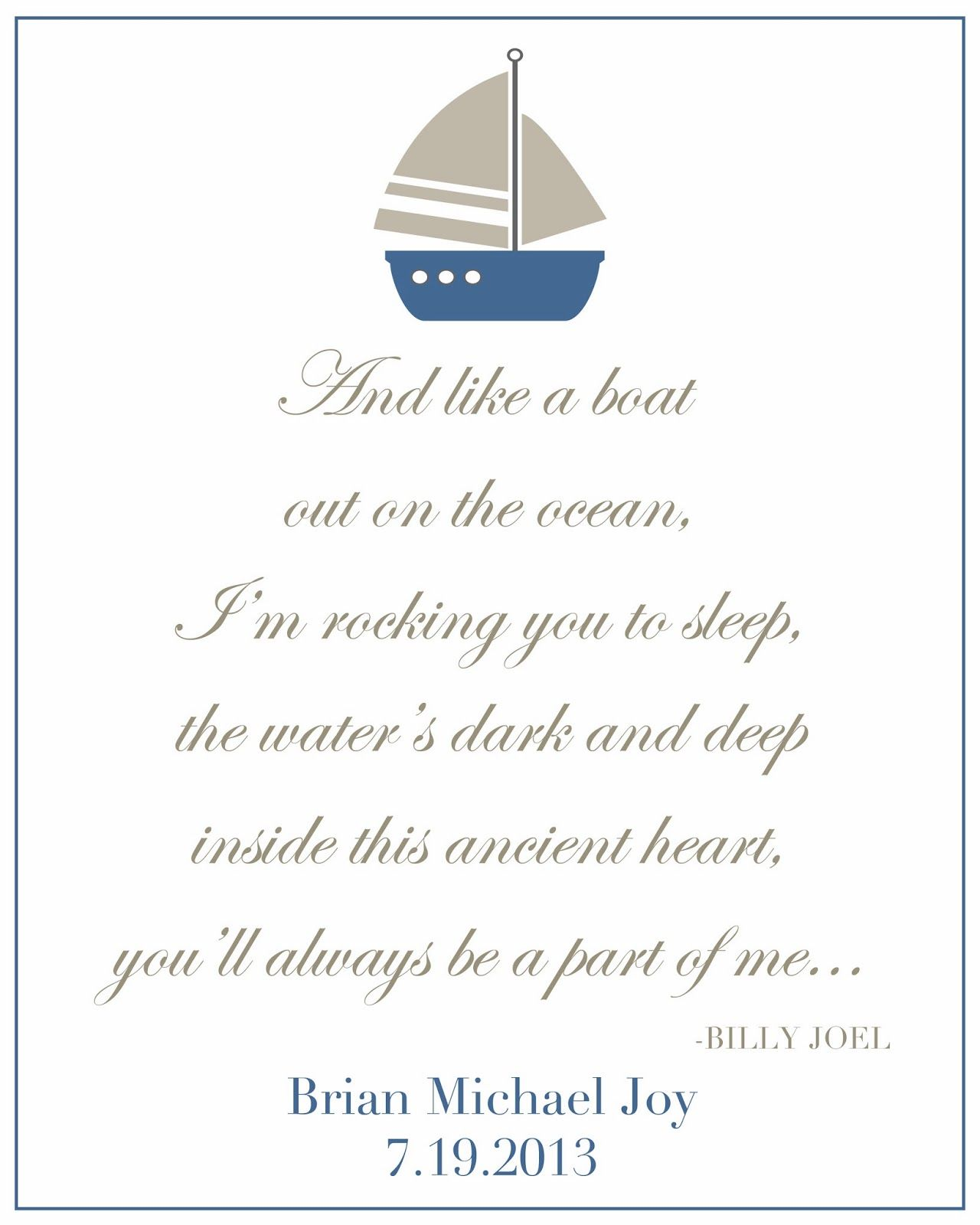 Billy Joel S Lullaby Sailboat Print With Images Billy Joel