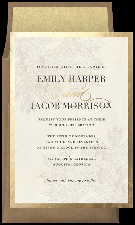 kraft leaves invitations in creme  wedding cards