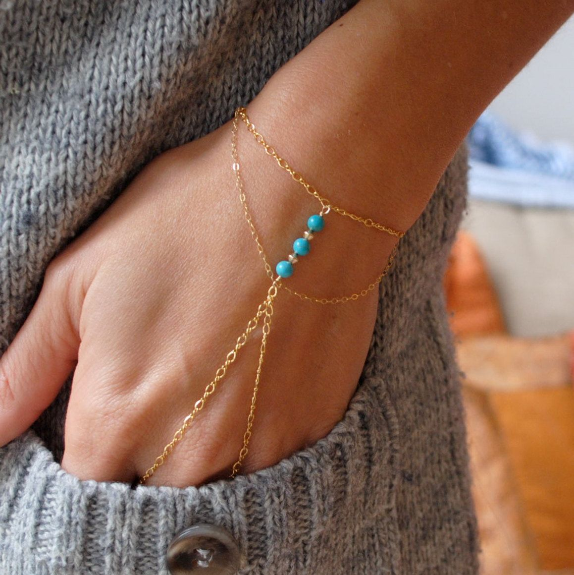 DELICATE  14k gold filled slave bracelet with by chained7 on Etsy, £39.00
