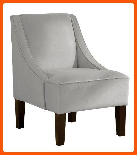 Skyline Furniture Swoop Arm Chair In Velvet Light Grey Improve