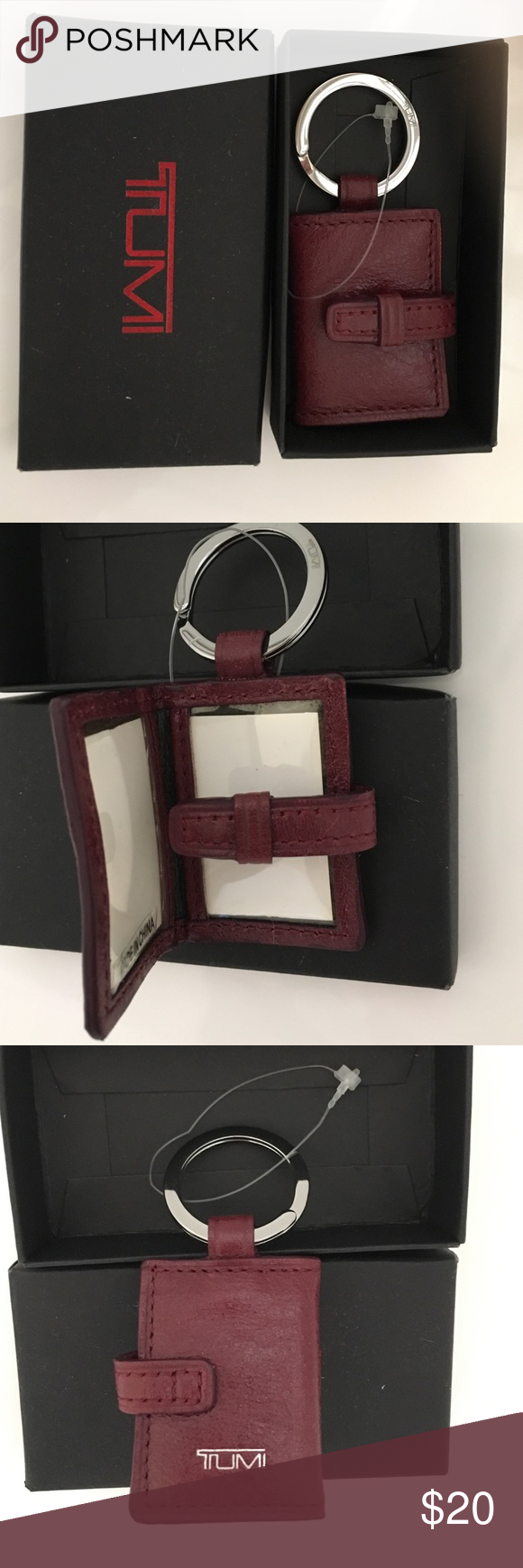 NWT TUMI locket photo key ring TUMI leather key ring. Journal style with snap closure, has 2 photo slots inside. Comes in gift box it was purchased in, pictured. Accessories Key & Card Holders