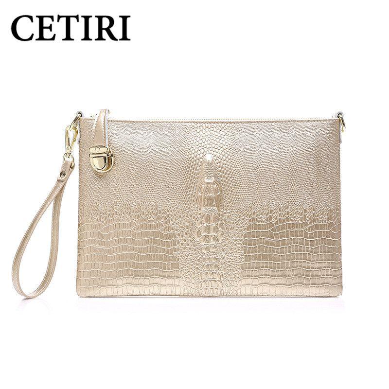 Cetiri Clutch Women Evening Bag Genuine Leather Wedding Day Clutches Purse Gold Las Party Alligator Wallet Handbag