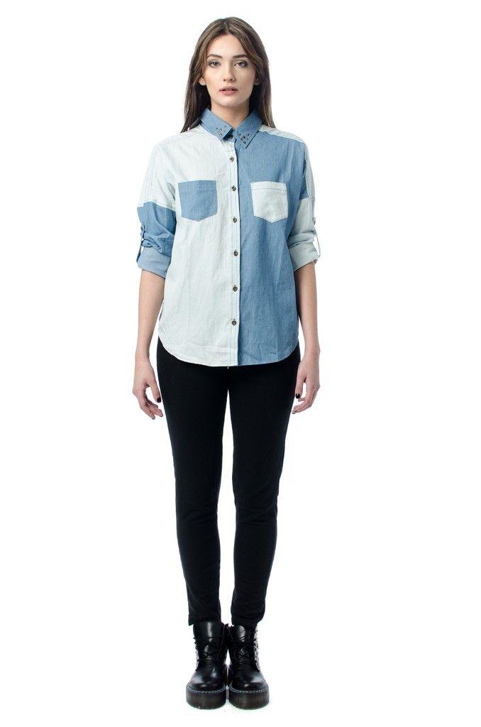 5ee46b41a Camisa de Jean Combinada