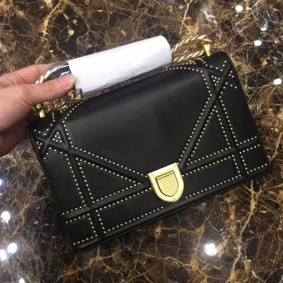 Dior Medium Diorama Bag In Studded Lambskin Black Summer 2017  c3718c5d346ff