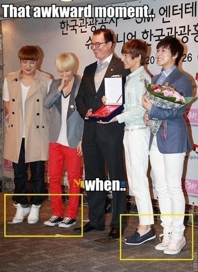 Either The Four Of Them Are Really Short Or That One Guy Is Just Tall Super Junior Funny Super Junior Kpop Guys