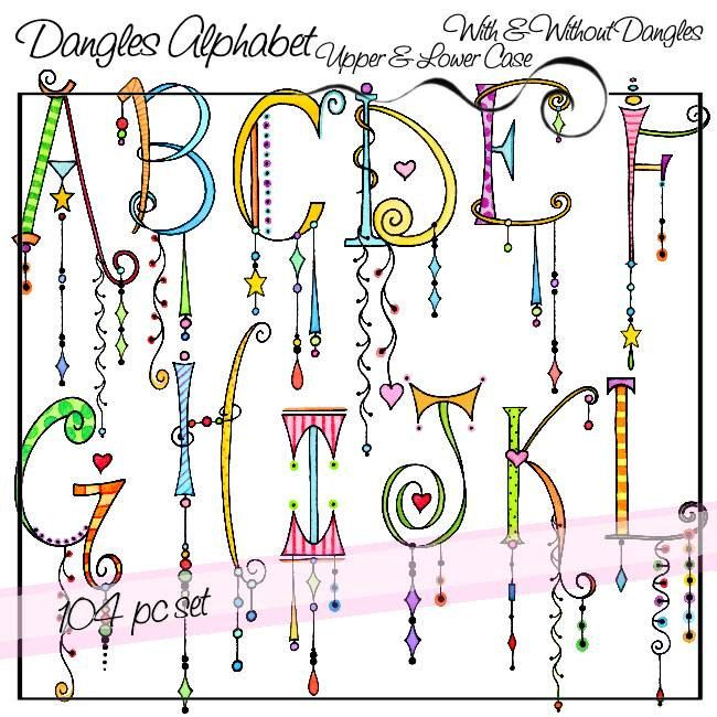 Dangles Alphabet Upper & Lower Case - Personal and Limited Commercial Use #whiteembroidery