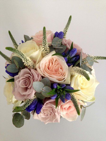 Blue And Dusky Pink Bride Bouquet Surrey Wedding Flowers By Boutique Blooms Floral Design