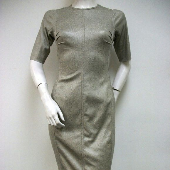 Byron Lars Beauty Mark Sheath Dress Khaki Microfiber U.Suede Back Supper Style BL2963 Byron Lars Beauty Mark Dresses