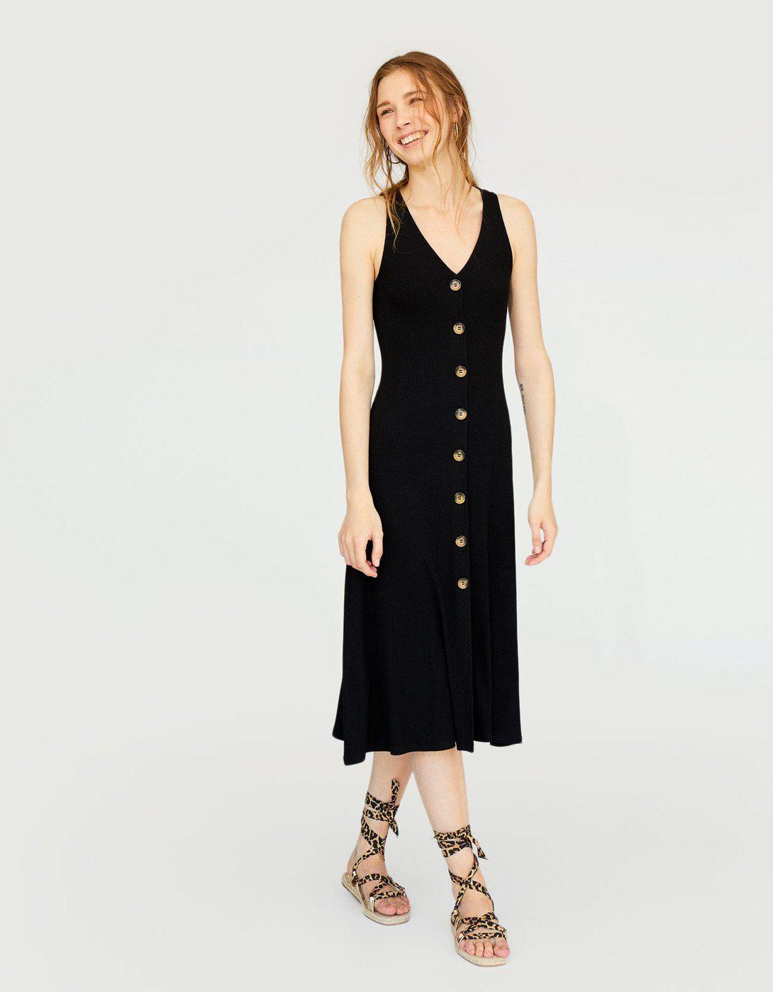 Vestido midi negro stradivarius