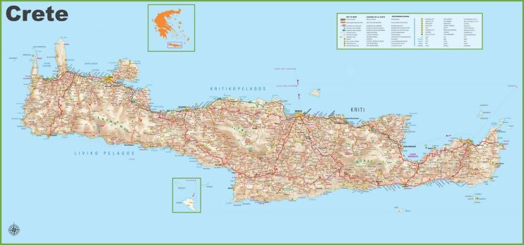 Large detailed map of Crete with cities and resorts Maps