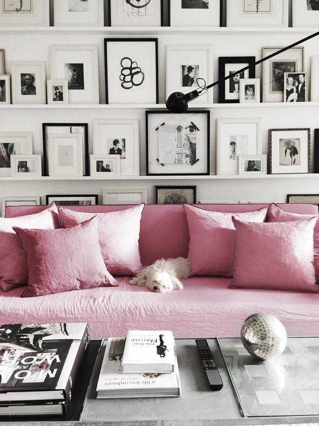 Du rose sur du noir et blanc Shelves, Interiors and Living rooms