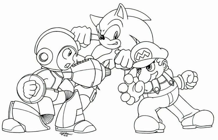Megaman Vs Sonic Vs Mario Coloring Picture To Print Mario Coloring Pages Coloring Pages Batman Coloring Pages