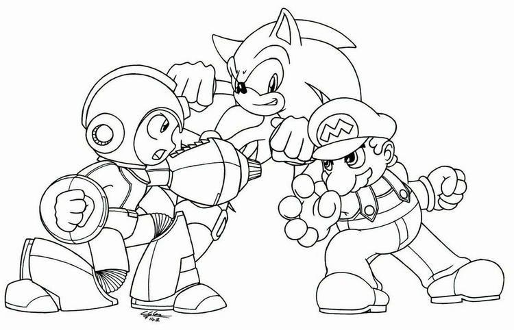 Megaman Vs Sonic Vs Mario Coloring Picture To Print Mario