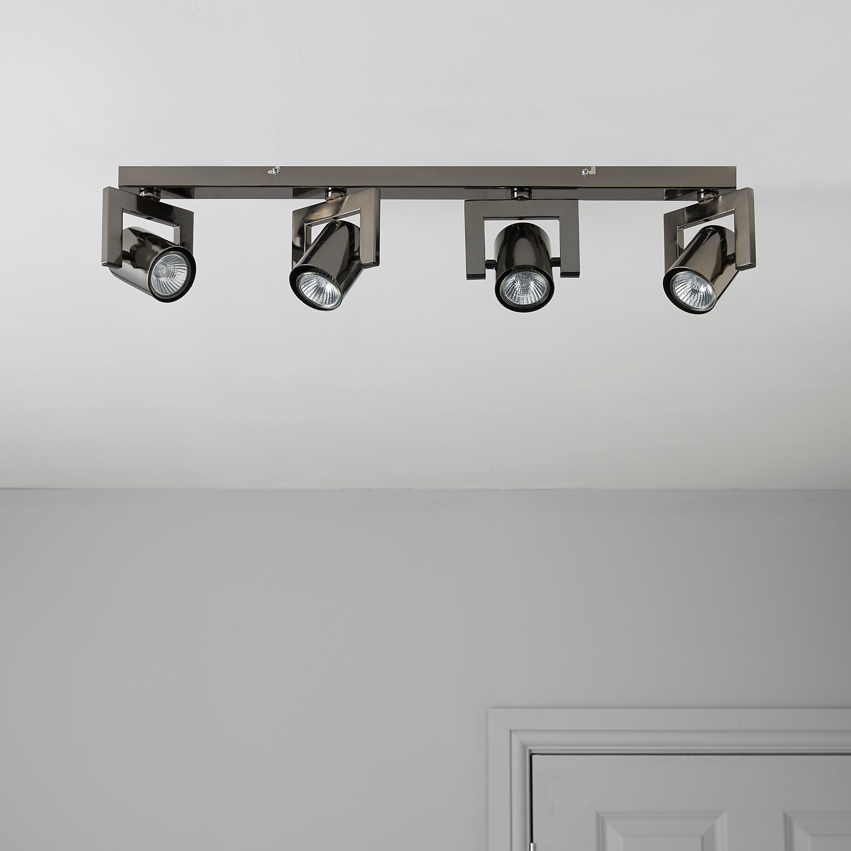 Theatre Black Nickel Effect 4 Lamp Bar Spotlight
