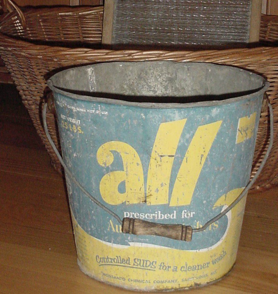 Shabby Chippy Vtg All Laundry Detergent Ad Metal Bucket Pail W