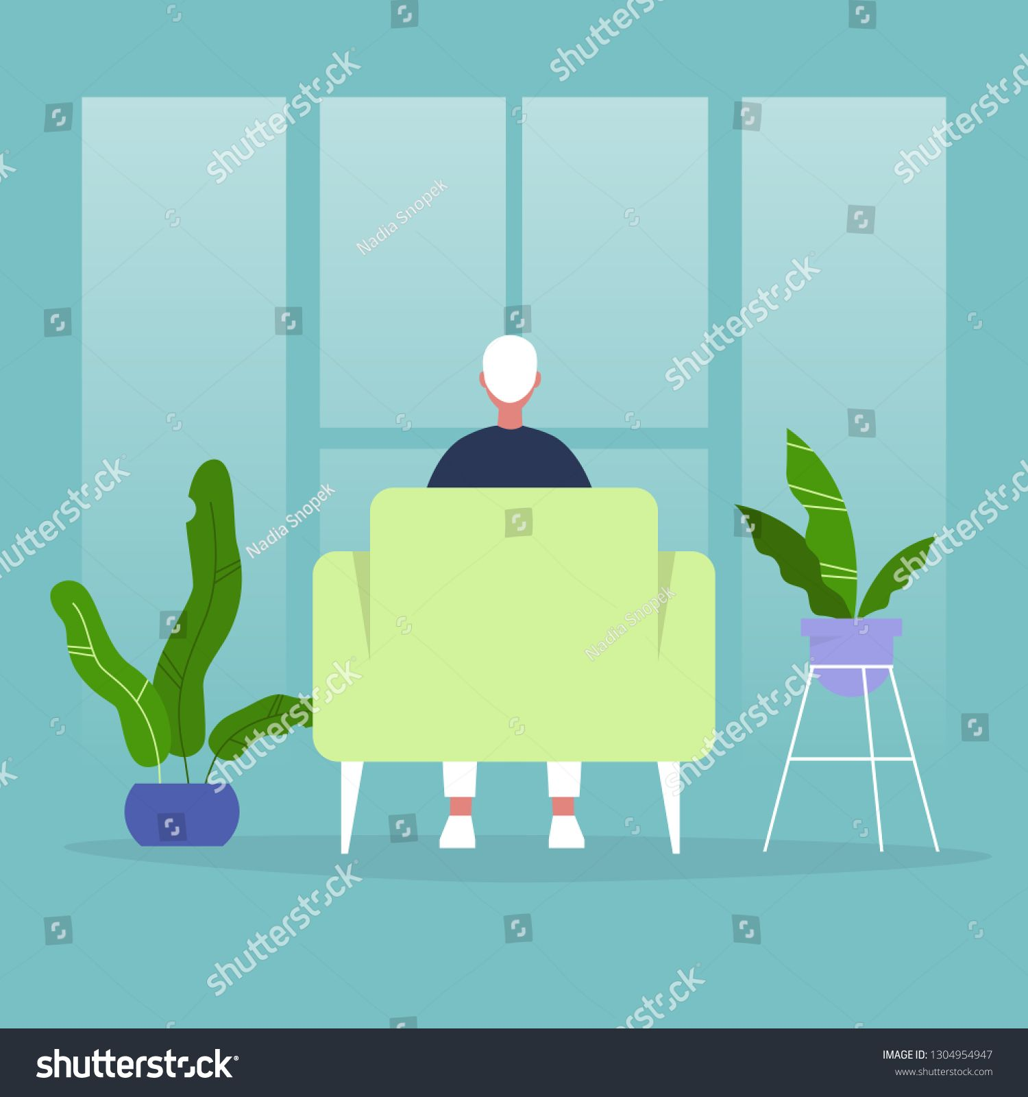 Character Sitting In A Chair In Front Of The Window Back View Interior Concept Flat Editable Vector Illustration In 2020 Vector Vector Illustration Interior Concept