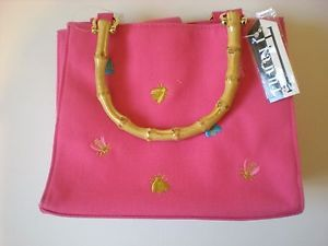 Tianni-purse-hot-pink-with-embroidered-bees-bamboo-handles-Tianni-handbag-new