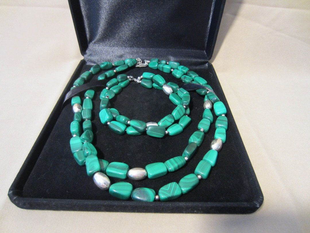 Vintage 90's Genuine Malachite Sterling Silver 2 by Pizzelwaddels