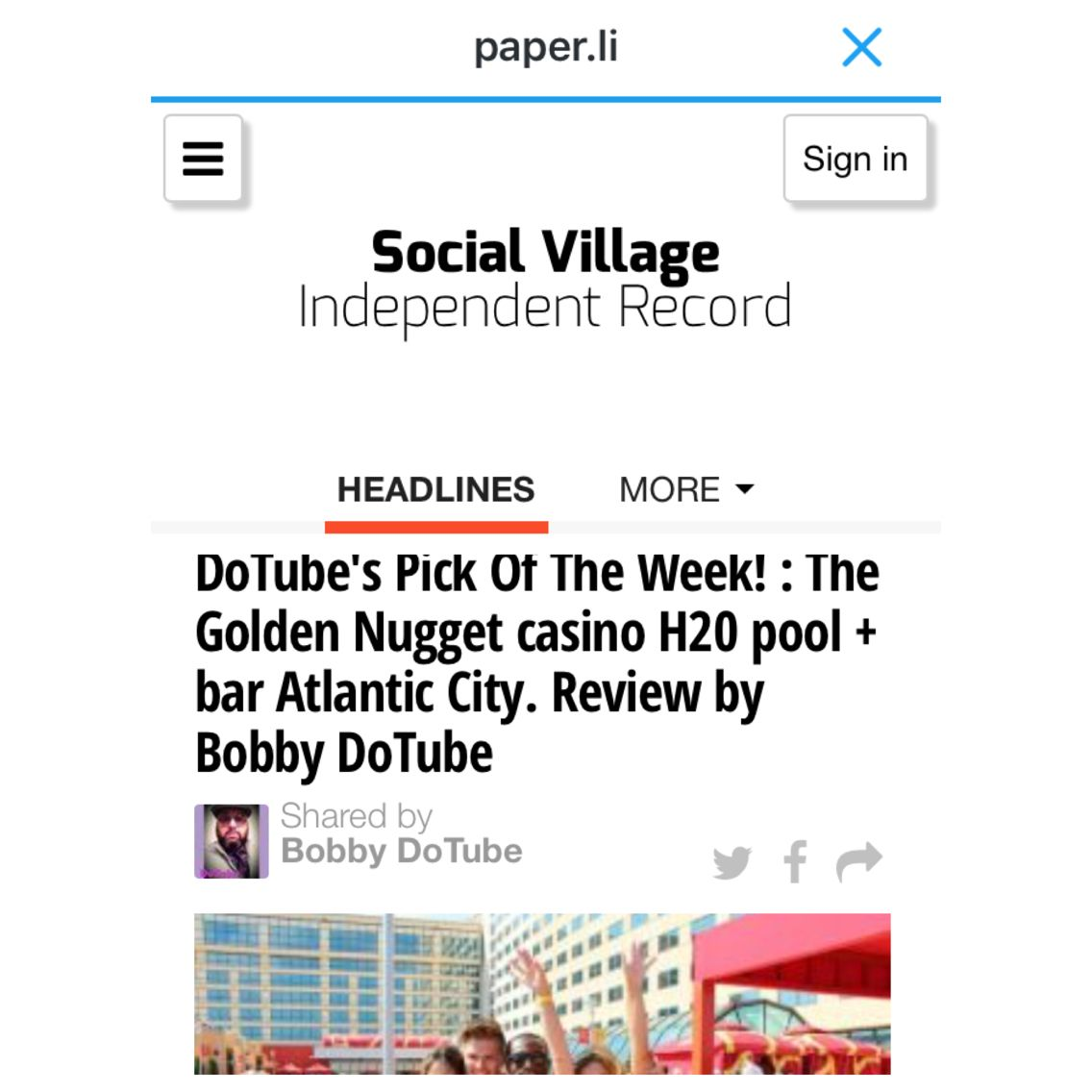 Front page for my review of the pool party at the Golden Nugget Atlantic City