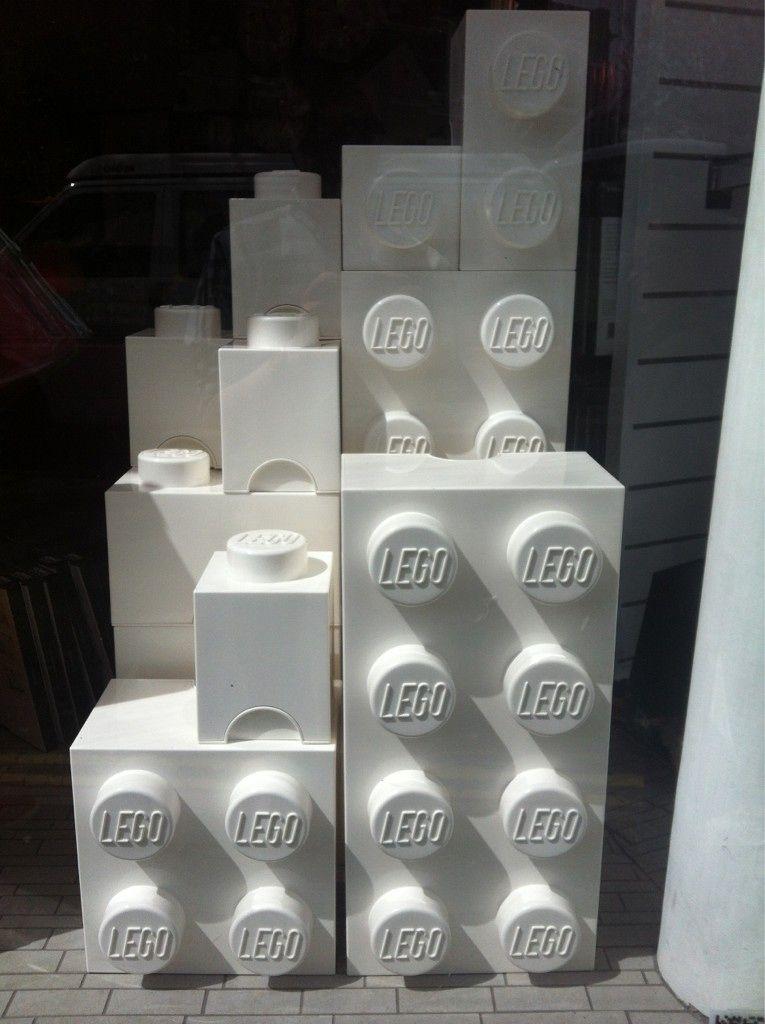 Briques de rangement LEGO blanches (version grand format, à couvercle)   Boite de rangement ...