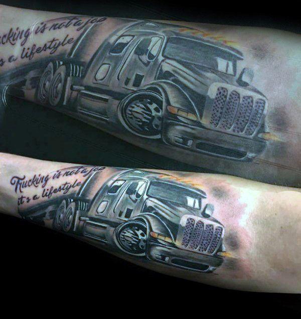 60 truck tattoos for men vintage and big rig ink design ideas tats pinterest truck. Black Bedroom Furniture Sets. Home Design Ideas