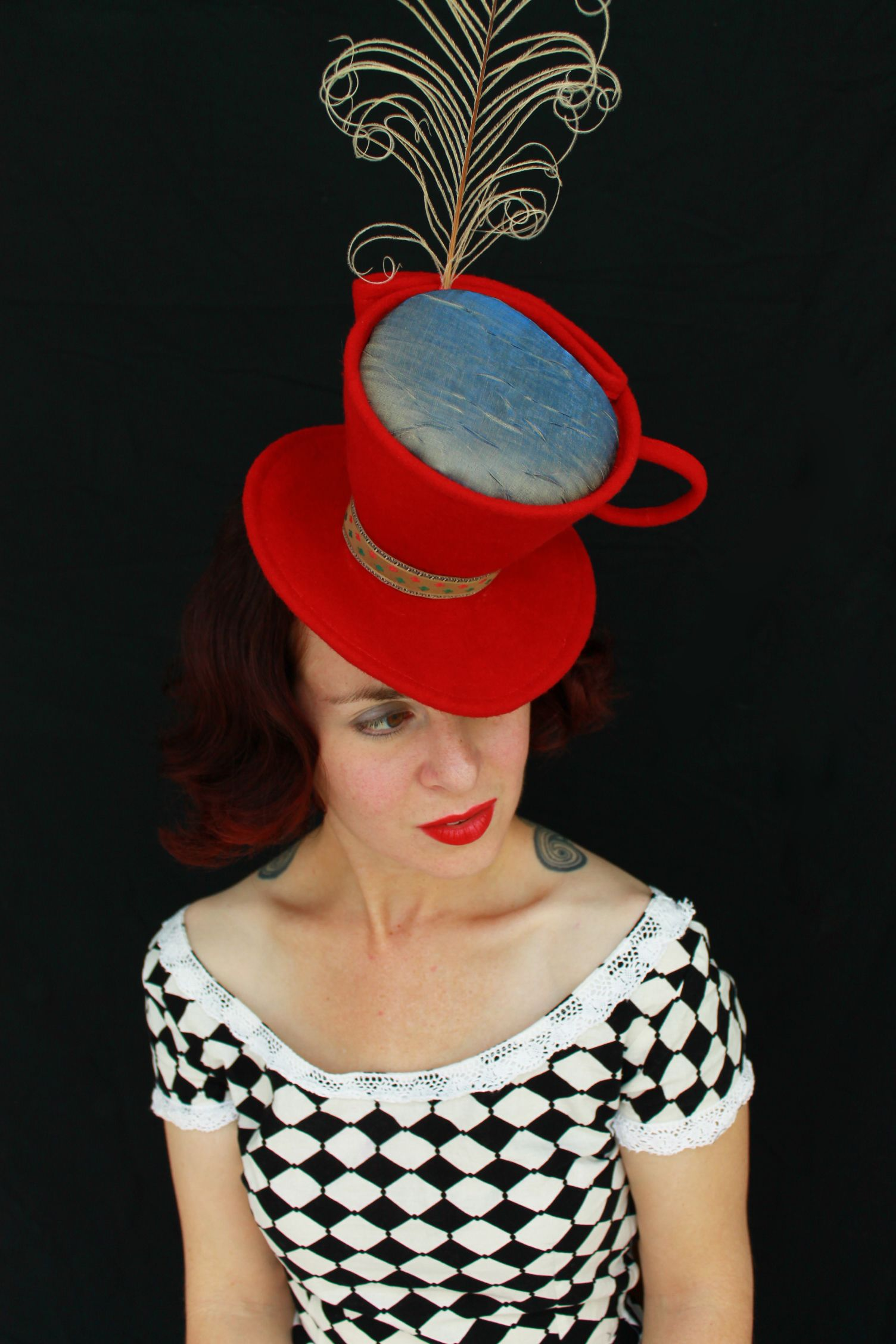 Remodel Sale In Stock Mad Hatter Tea Cup Red Felt Tilt Hat With