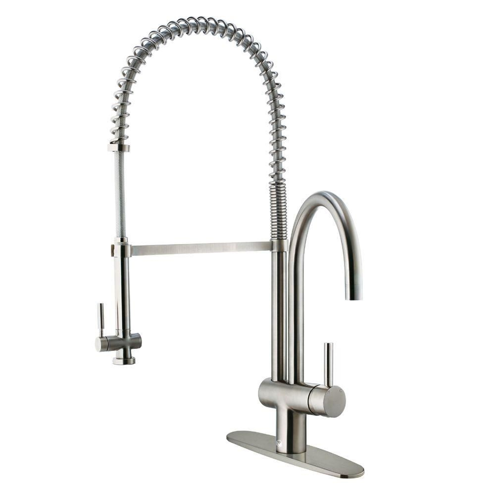 Vigo Dresden Single Handle Pull Down Sprayer Kitchen Faucet With Deck Plate In Chrome Vg02006chk1 The Home Depot Kitchen Faucet Stainless Kitchen Faucet Single Handle Kitchen Faucet