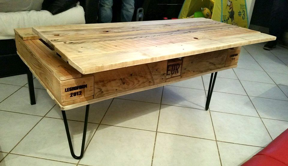 Liftup Pallet Table With Wood Stain Colorless Pinterest Pallets - Liftable table