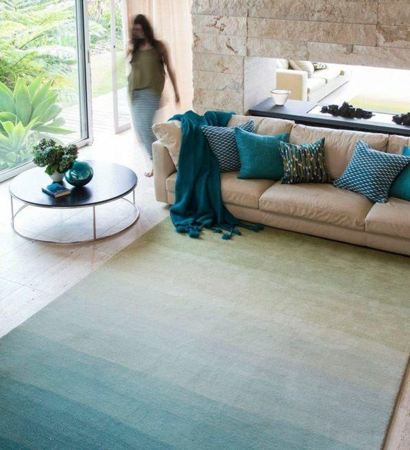 einrichtungsideen wohnzimmer möbel modern trendy türkis farben - wohnzimmer deko in turkis