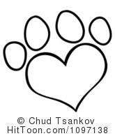 Outlined Heart Shaped Dog Paw Print 1097138