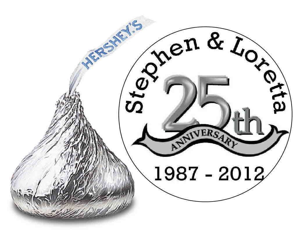 216 Silver Anniversary 25Th Wedding Anniversary Favors Hershey Kiss ...