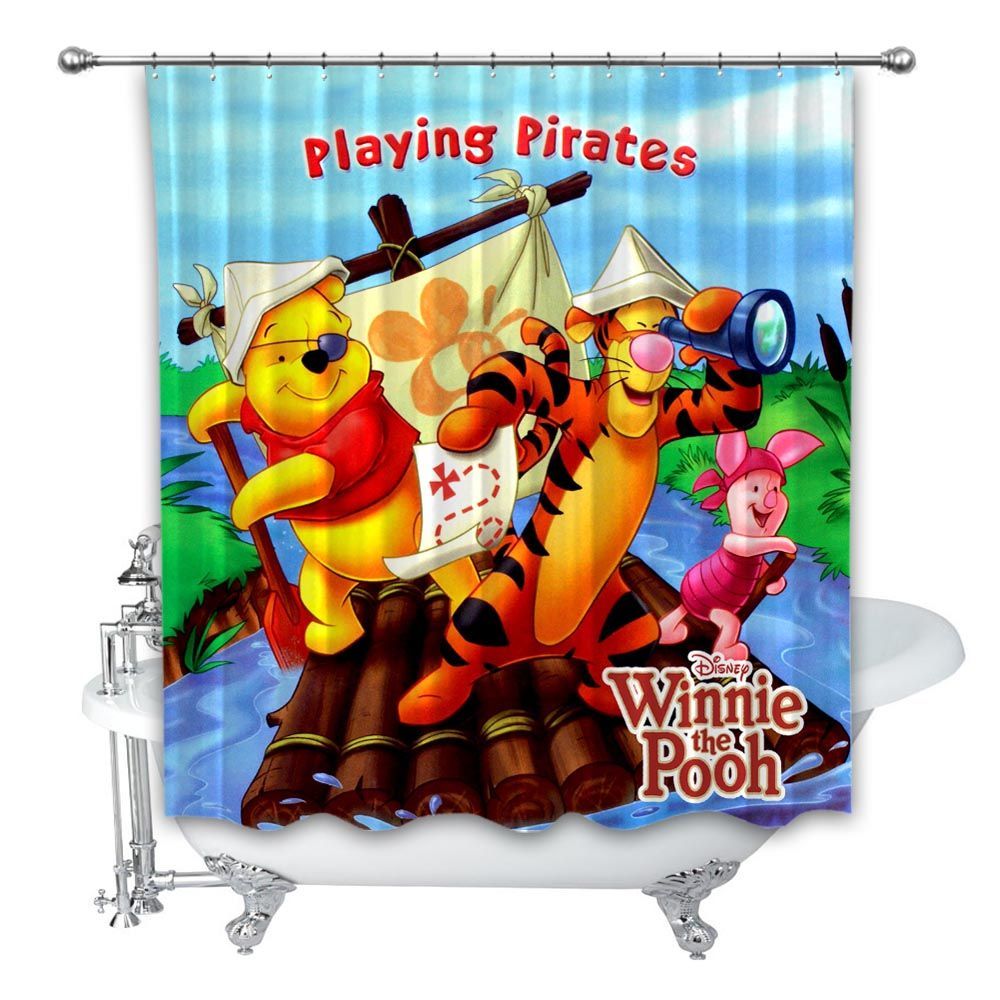 New Best Disney Winnie The Pooh Playing Pirates Custom Shower Curtain 100 Polyester Custom Shower Custom Shower Curtains Winnie The Pooh Dancing