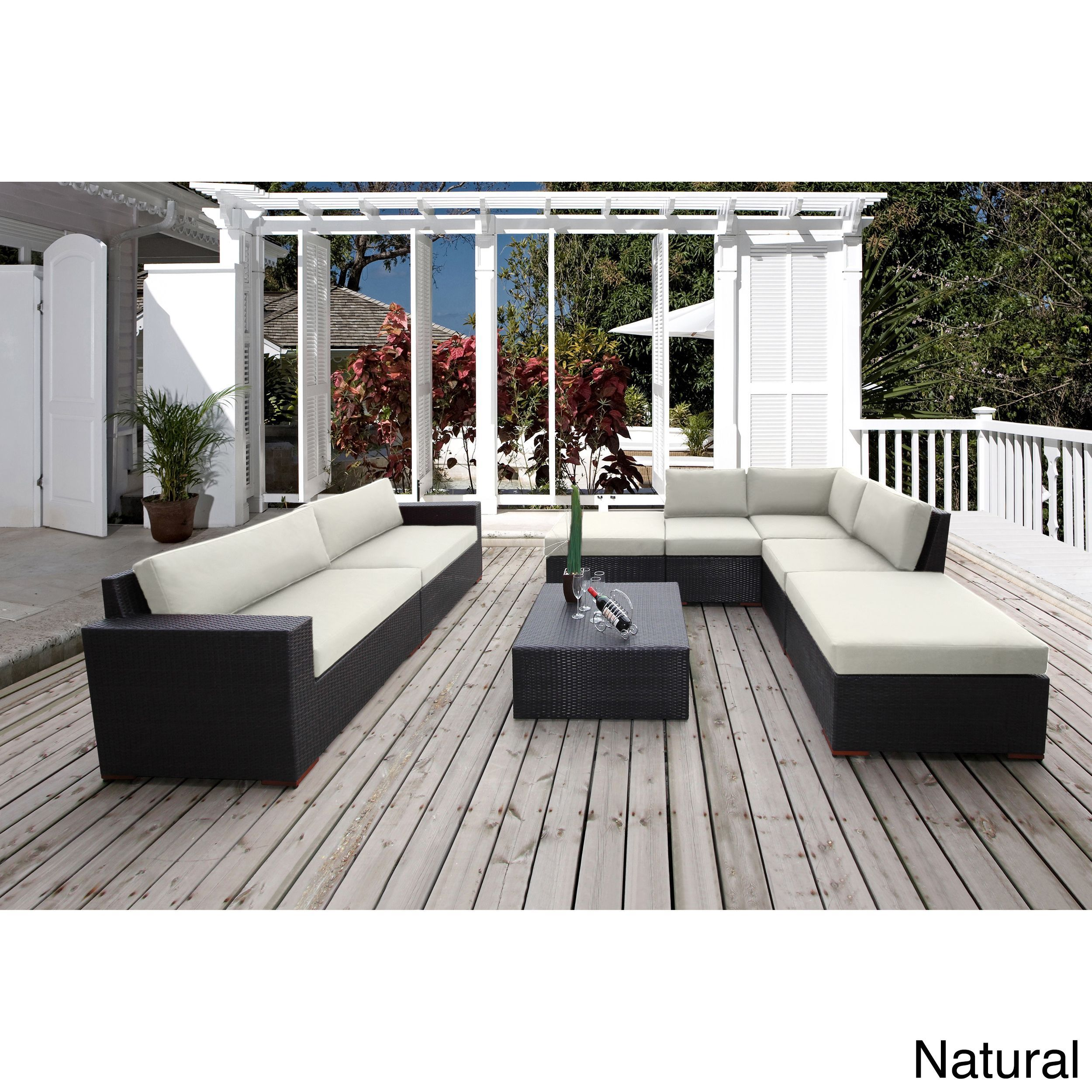 Bellini Andover 8 Piece Sunbrella Fabric Conversation Sectional Seating Canvas Natural