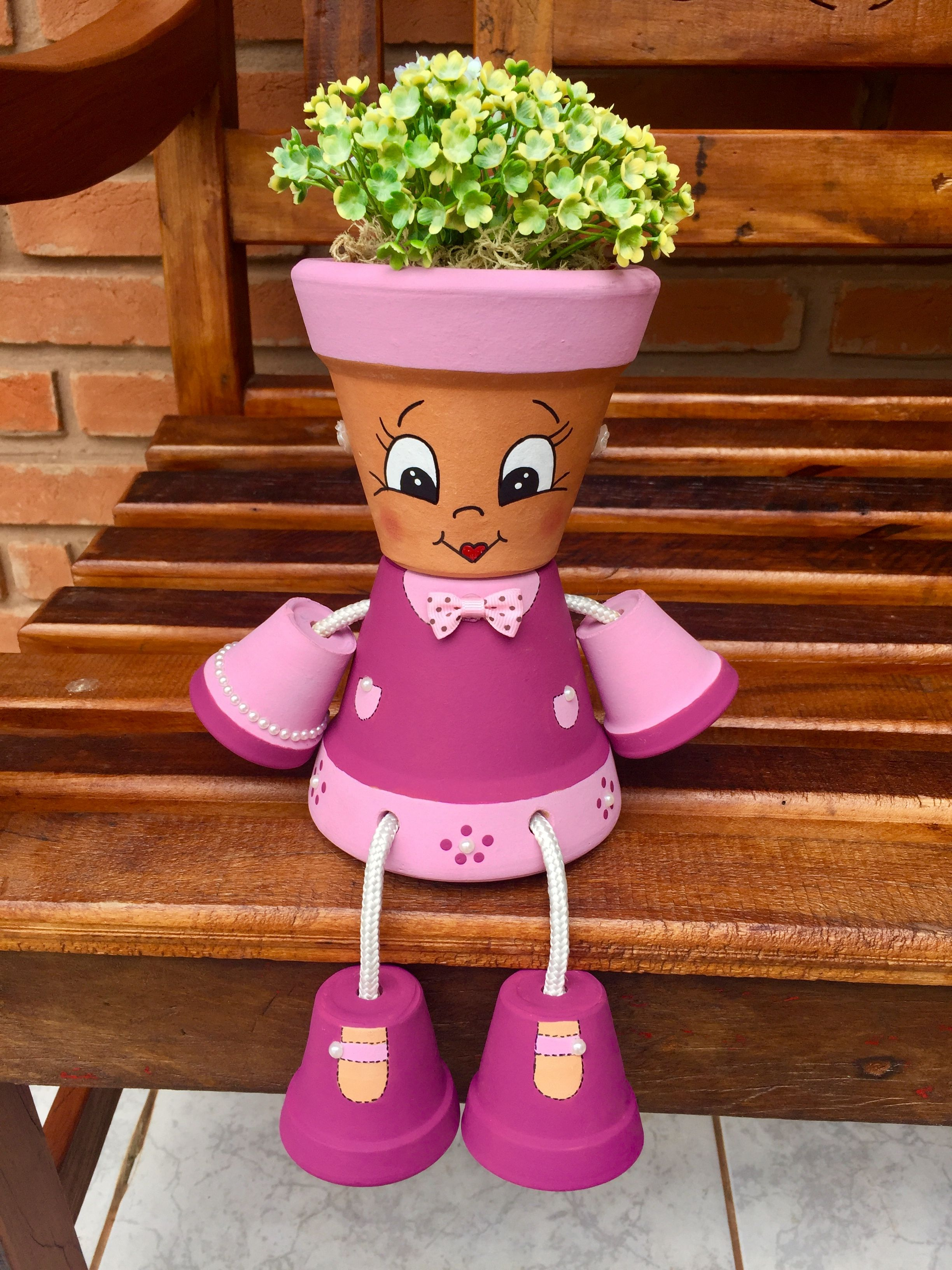 pin by lita brown on pot people pinterest clay clay pot people and flower pot people. Black Bedroom Furniture Sets. Home Design Ideas